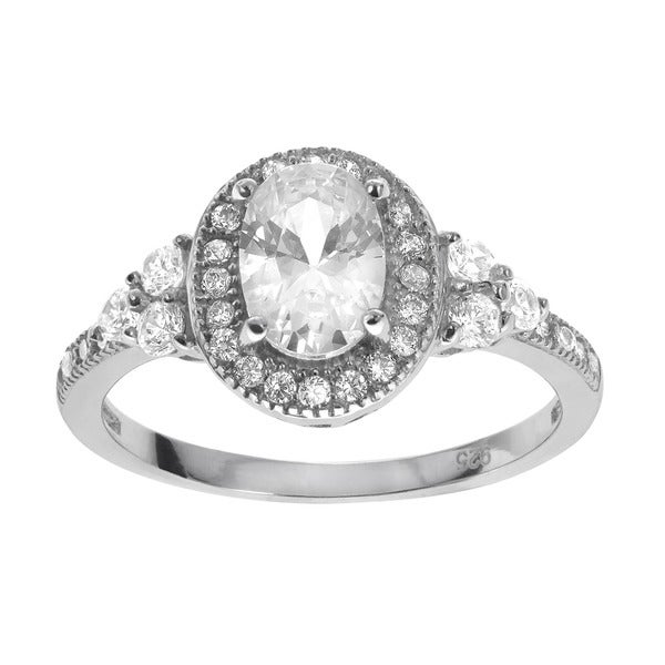 Journee Collection Sterling Silver Oval-cut Cubic Zirconia Engagement Ring