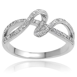 Tressa Sterling Silver Cubic Zirconia Ribbon Ring