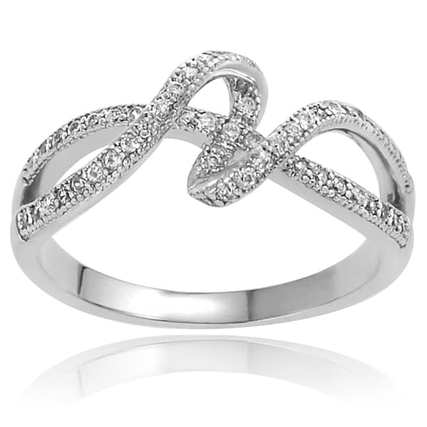 Journee Collection Sterling Silver Cubic Zirconia Ribbon Ring