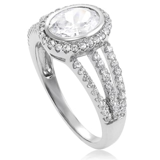 Tressa Sterling Silver Cubic Zirconia Oval Bridal Ring