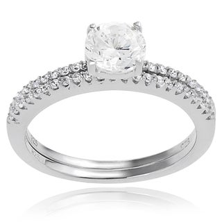Journee Collection Sterling Silver White Round Cubic Zirconia Bridal Ring