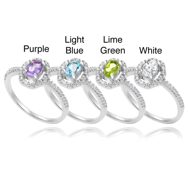 Journee Collection Sterling Silver Gemstone and CZ Accent Bridal-style Ring