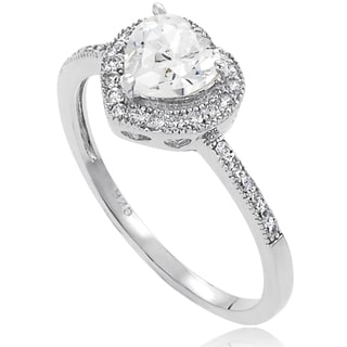 Journee Collection Sterling Silver CZ Heart Bridal Ring