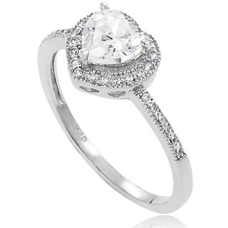 Tressa Sterling Silver CZ Heart Bridal Ring