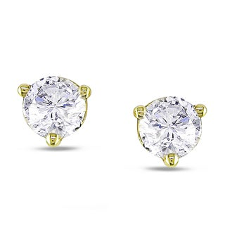 Miadora 18k Yellow Gold 1/2ct TDW Diamond Stud Earrings (G-H, SI1-SI2)