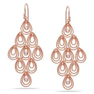 Miadora 14k Rose Gold 1/8ct TDW Diamond Dangle Earrings (G-H, SI1-SI2)