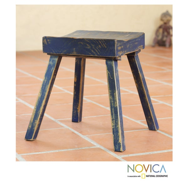 Handcrafted Pinewood 'Ranch House Blue' Stool (Mexico)