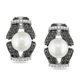 Miadora 14k White Gold Pearl and 1ct TDW Diamond Earrings (G-H, I1-I2)