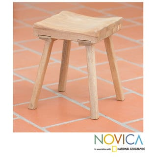 Handcrafted Pinewood 'Ranch House' Stool (Mexico)