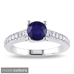 Miadora 10k White Gold Gemstone and 1/4ct TDW Diamond Ring (G-H, I1-I2)