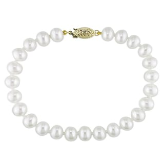 Miadora 14k Yellow Gold White Pearl Bracelet (6.5-7 mm)
