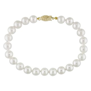Miadora 14k Yellow Gold White Pearl Bracelet (7-7.5 mm)