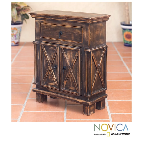Handcrafted Pinewood 'Antique Brown Crisscross' Nightstand (Mexico)