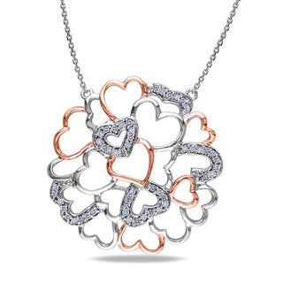 Miadora 14k Two-tone Gold 1/4ct TDW Diamond Heart Necklace (G-H, SI1-SI2)
