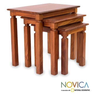 Set of 3 Parota Wood 'Hacienda' Nesting Tables (Mexico)