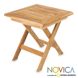 Handcrafted Teakwood 'Mexican Sierra' Folding Table (Mexico)