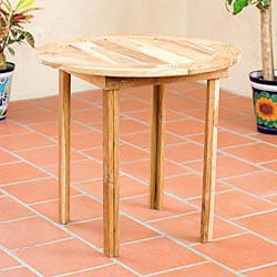 Handcrafted Teakwood 'Mexican Sierra' Round Accent Table (Mexico)