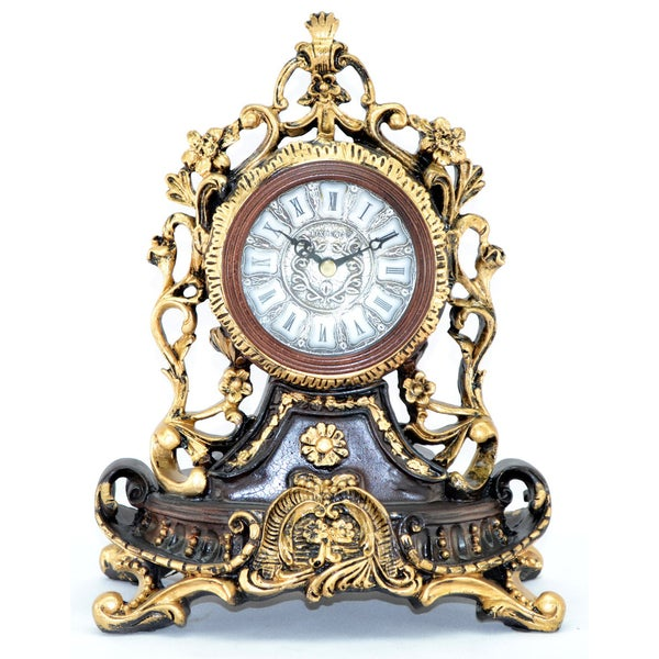 Fabulous Antique Style Polyresin 11-Inch Table Clock