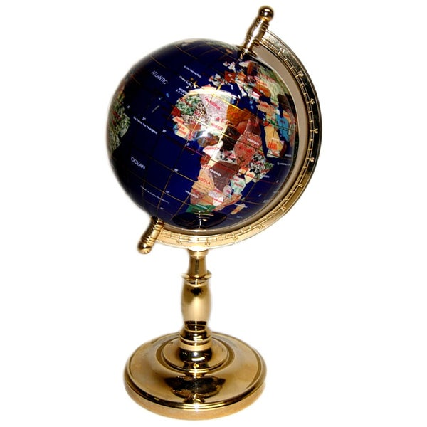 Threestar Gemstone World Map Globe