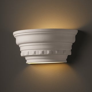 1-light Curved Dentil Molding Ceramic Bisque Wall Sconce