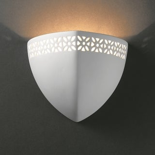 Justice Design Group 1-light Ambis Ceramic Bisque Wall Sconce