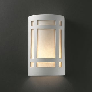 Justice Design Group 1-light Window Ceramic Bisque Wall Sconce