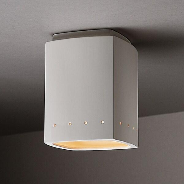Rectangular Ceramic Bisque 1-light Flush Mount
