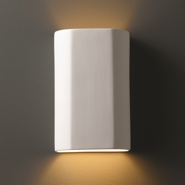 Justice Design Group 1-light ADA Approved Cylindrical Ceramic Bisque Wall Sconce
