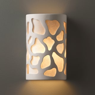 Justice Design Group 2-light ADA Approved Cobblestones Ceramic Bisque Wall Sconce