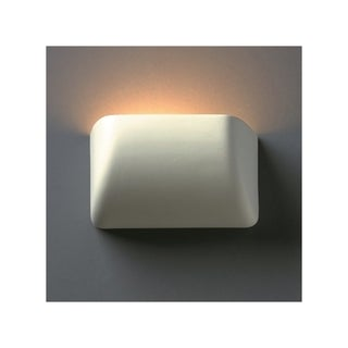 Justice Design Group 1-light Scooped Ceramic Bisque Wall Sconce