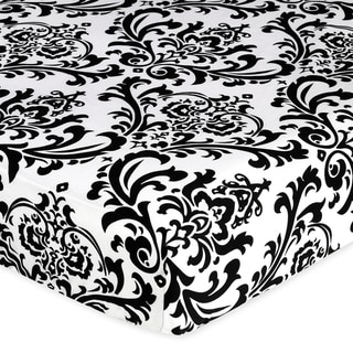 Sweet JoJo Designs Black and White Damask Isabella Fitted Crib Sheet