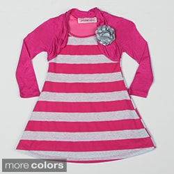 Paulinie Collection Girl's 2fer Striped Dress