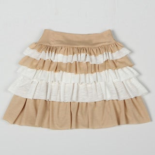 Paulinie Collection Girl's Beige Pleated Ruffle Knit Skirt.