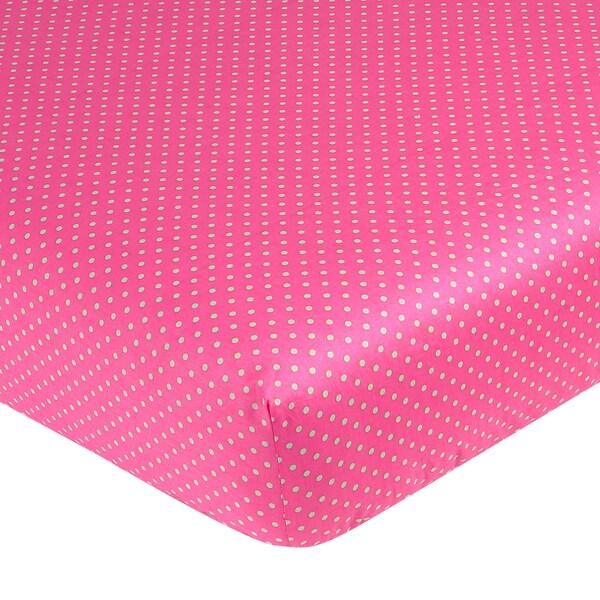 Sweet JoJo Designs Jungle Friends Pink Polka Dot Fitted Crib Sheet Sweet Jojo Designs Baby Bed Sheets