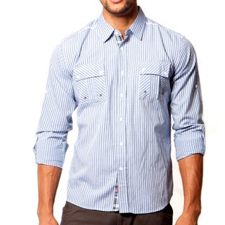 191 Unlimited Men's Slim Fit Blue Long Sleeve Woven Shirt
