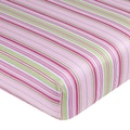 Sweet JoJo Designs Jungle Friends Pink and Green Stripe Fitted Crib Sheet