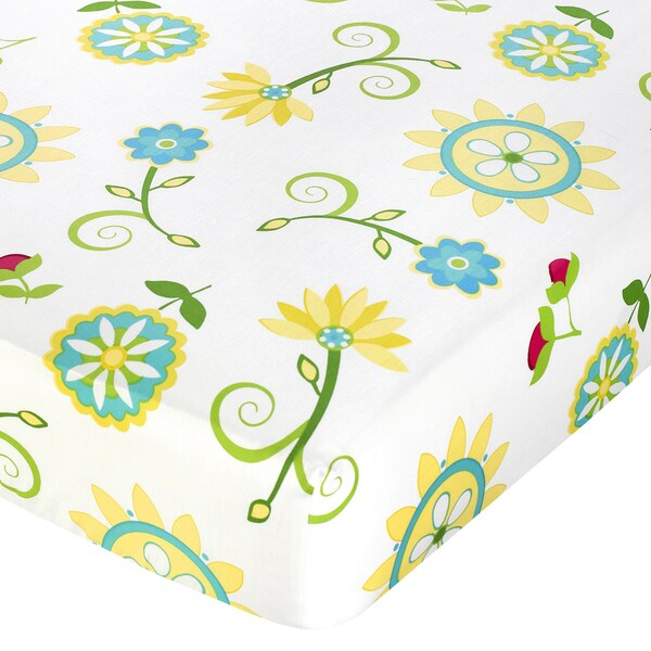 Sweet JoJo Designs Turquoise and Lime Layla Floral Fitted Crib Sheet
