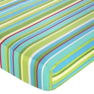 Sweet JoJo Designs Turquoise and Lime Layla Stripe Fitted Crib Sheet