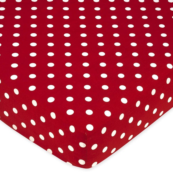 Sweet JoJo Designs Polka Dot Ladybug Fitted Crib Sheet