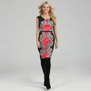 London Times Women's Coral/ Black Printed Sheath Dress