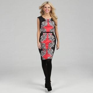 London Times Women's Coral/ Black Printed Sheath Dress
