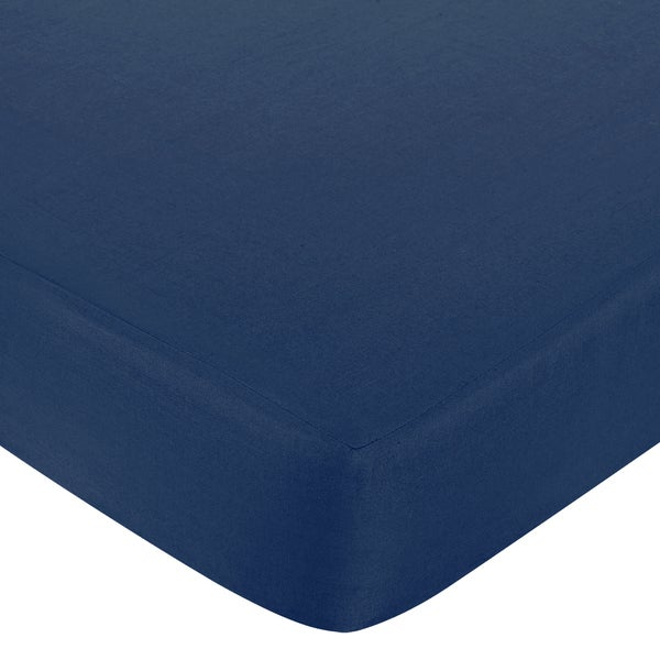 Sweet JoJo Designs Nautical Nights Navy Blue Fitted Crib Sheet