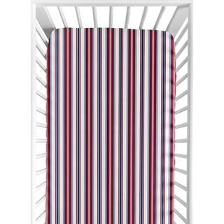 Sweet JoJo Designs Stripe Print Nautical Nights Fitted Crib Sheet
