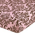 Sweet JoJo Designs Pink and Chocolate Damask Print Nicole Fitted Crib Sheet