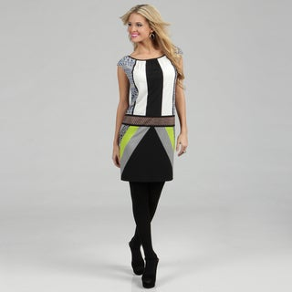 London Times Women's Green Geometric Printed Jersey Dress