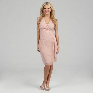 London Times Women's Peach Mesh Formal Sheath Dress