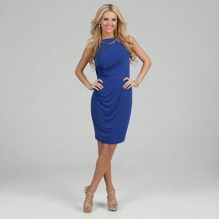 London Times Women's Chain-neckline Jersey Sheath Dress