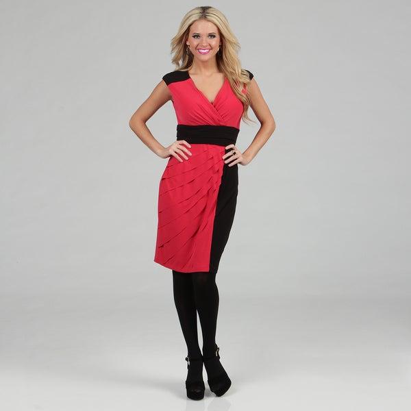 London Times Women's Color-block Jersey Shutter-tuck Sheath Dress