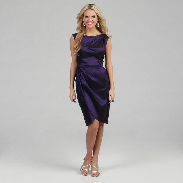 London Times Women's Sapphire Taffeta Gathered Sheath Dress