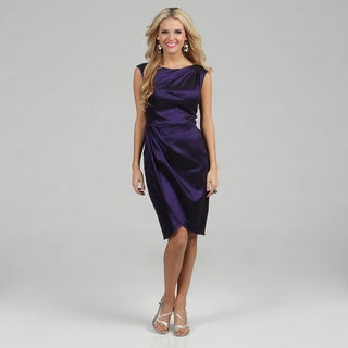 London Times Women&#39;s Sapphire Taffeta Gathered Sheath Dress